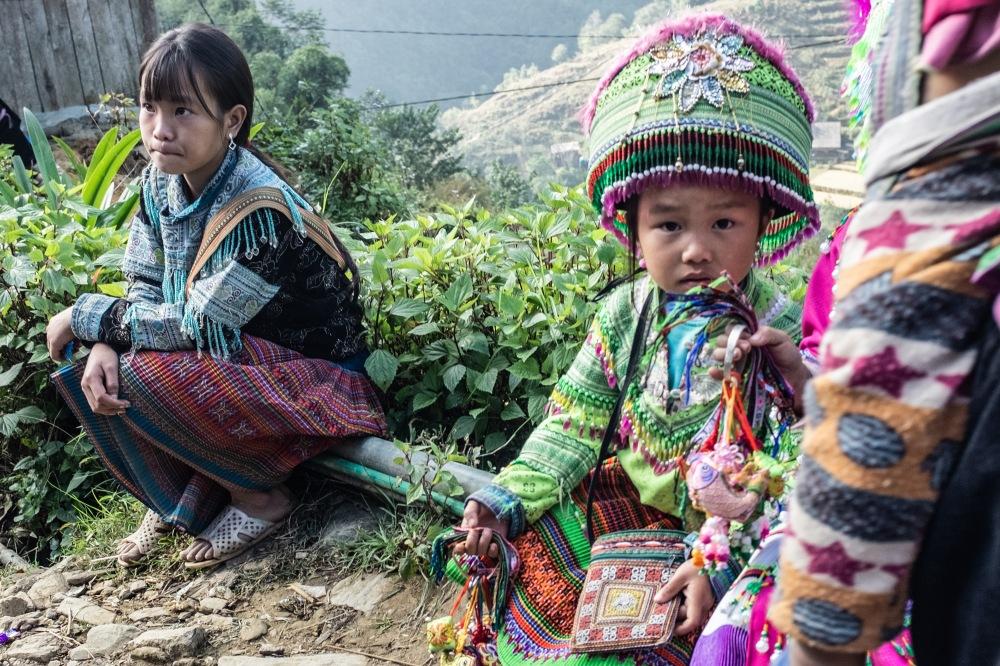 Children in traditional dress in sapa vietname