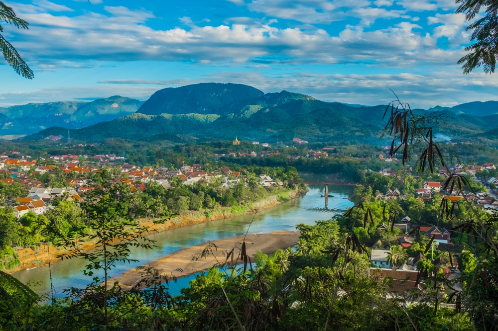 view from hill in luang prebang