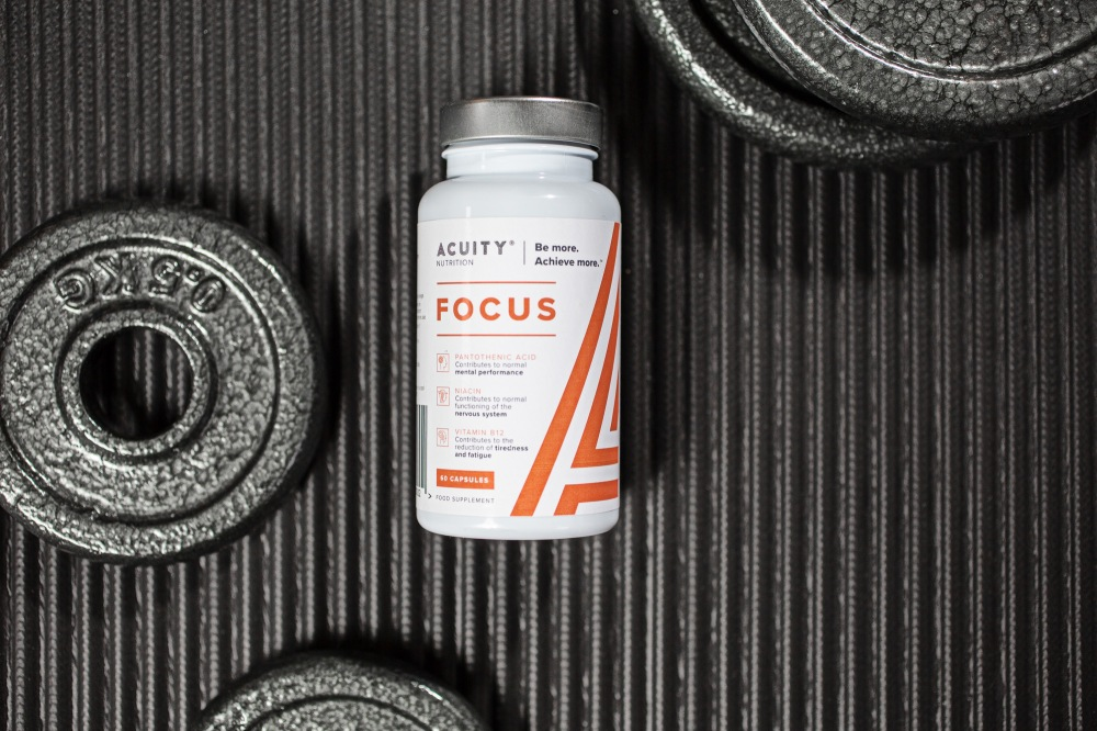 acuity focus supplement in dark gym texture