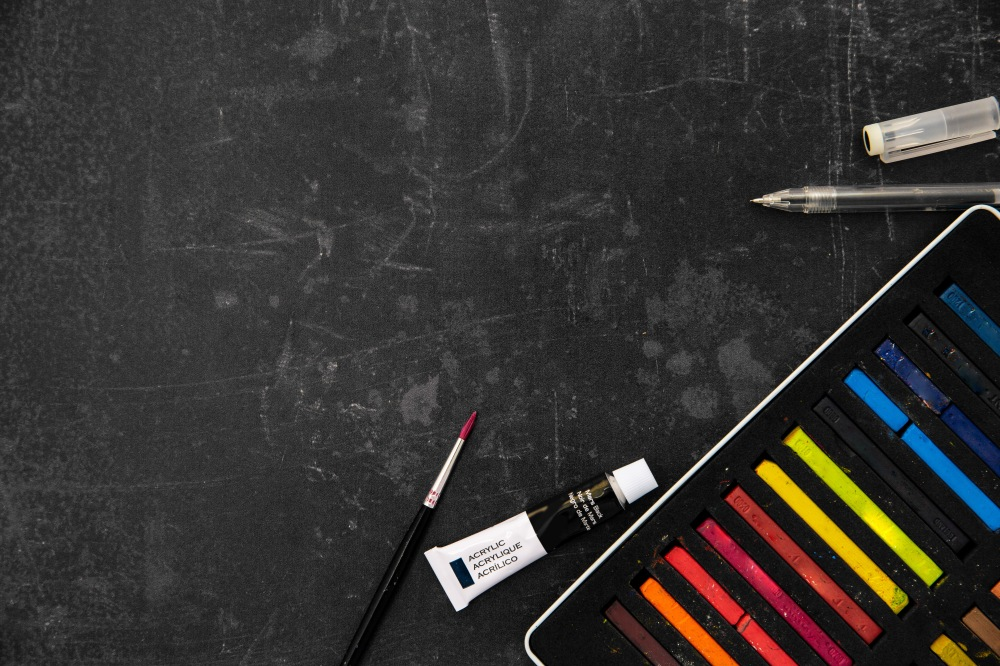 art supplies chalkboard flatlay